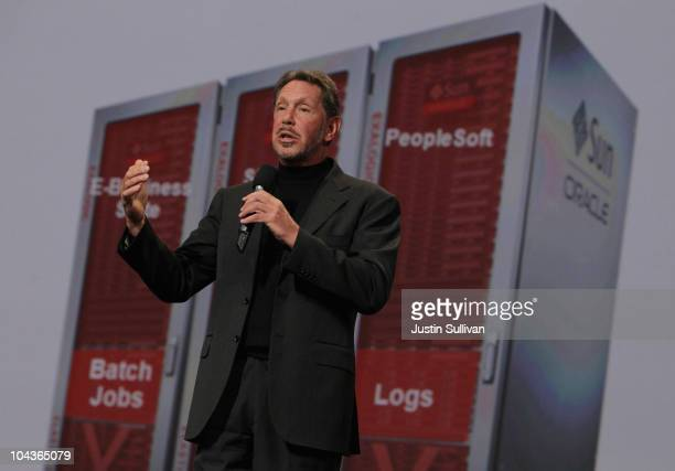 Oracle CEO Larry Ellison delivers a keynote address during the 2010 Oracle Open World conference on September 22 2010 in San Francisco California...