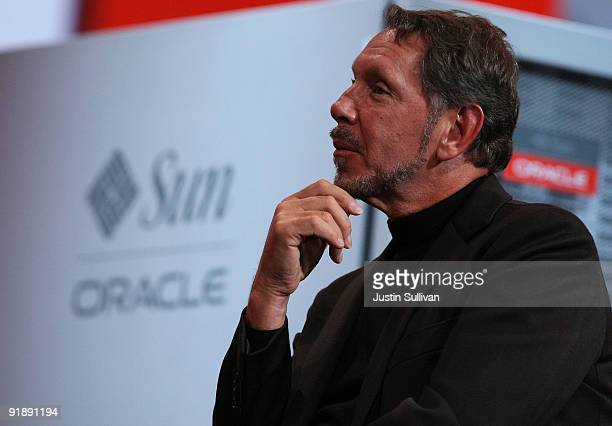 Oracle CEO Larry Ellison watches a demonstration during his keynote address at the 2009 Oracle Open World conference October 14, 2009 in San...