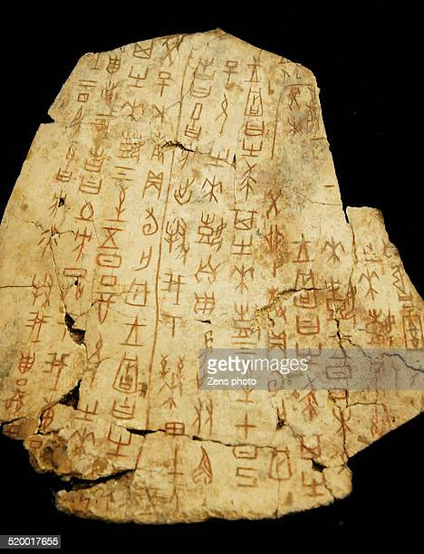 oracle chinese ancient words in shang dynasty - bones stock photos and pictures