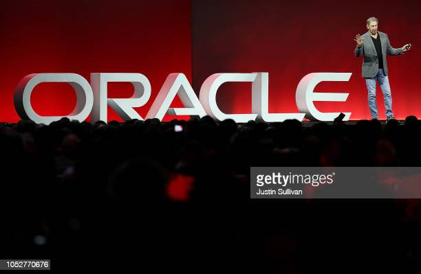 Oracle cofounder and Chairman Larry Ellison delivers a keynote address during the Oracle OpenWorld on October 22 2018 in San Francisco California The...