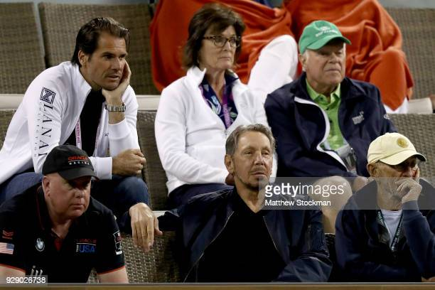 Oracle Cofounder Larry Ellison watches Maria Sharapova plays Naomi Osaka during the BNP Paribas Open at the Indian Wells Tennis Garden on March 7...