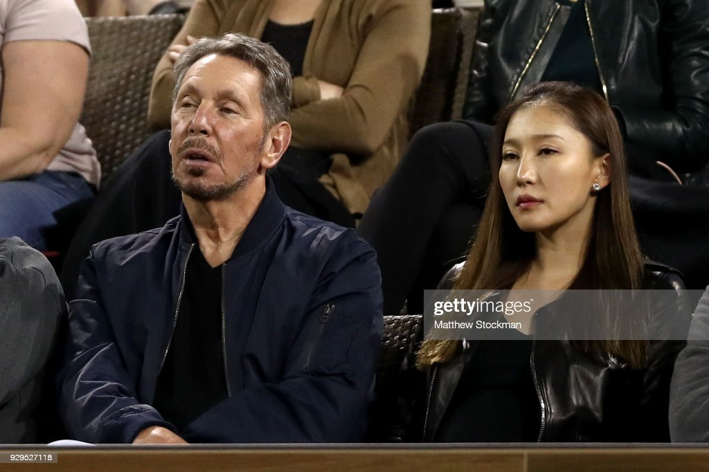 Oracle Co-founder Larry Ellison watches Serena Williams play Zarina Diyas of Kazakhstan during the BNP Paribas Open at the Indian Wells Tennis Garden on March 8, 2018 in Indian Wells, California.