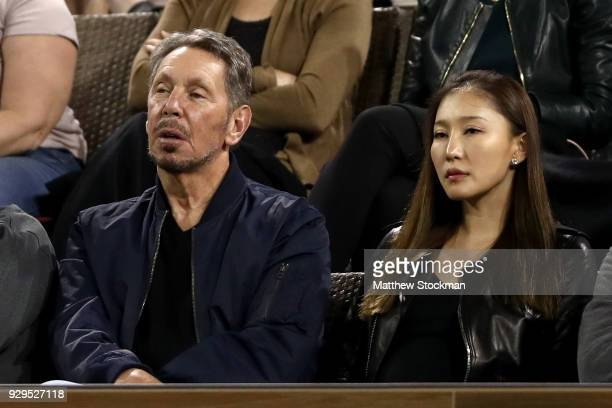 Oracle Cofounder Larry Ellison watches Serena Williams play Zarina Diyas of Kazakhstan during the BNP Paribas Open at the Indian Wells Tennis Garden...