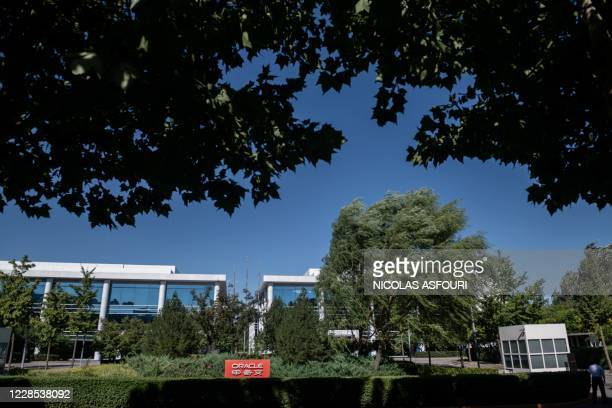 Oracle company signage is seen in front of the US-based technology company's office building in Beijing on September 16, 2020. - Silicon Valley tech...