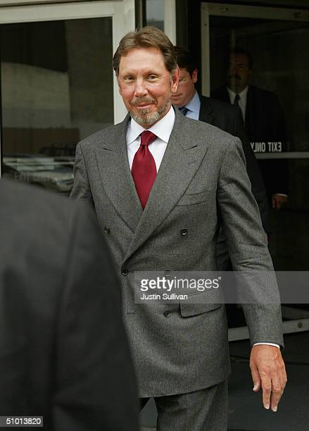 Oracle Corp. CEO Larry Ellison leaves the federal courthouse June 30, 2004 in San Francisco. Ellison testified in the federal antitrust trial over...