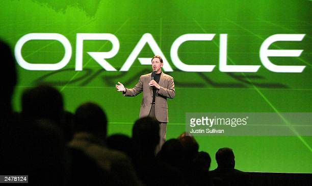 Oracle Corporation CEO Larry Ellison gestures as he delivers a keynote address at the 2003 Oracle World Conference September 9 2003 in San Francisco...