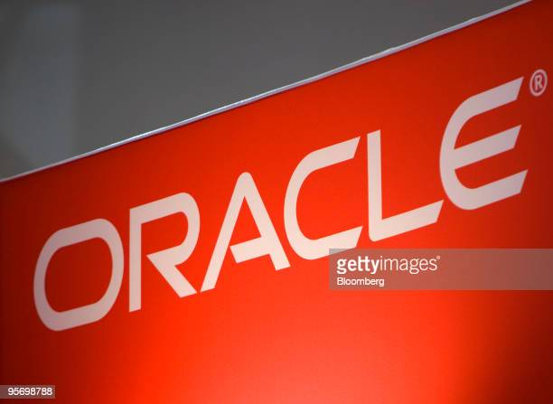 Oracle logo hangs on display at the National Retail Federation's Annual Convention EXPO at the Javits Center in New York US on Monday Jan 11 2009...