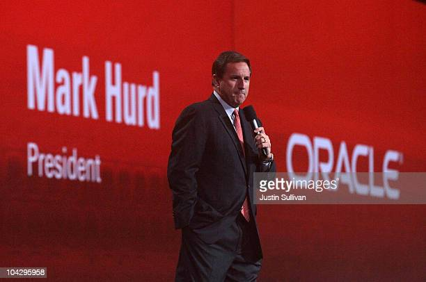 Oracle president Mark Hurd delivers a keynote address during the 2010 Oracle Open World conference at the Moscone Center on September 20 2010 in San...