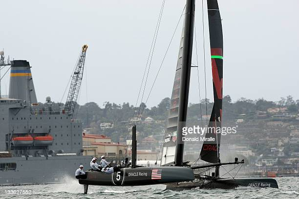 Oracle Racing 5 Coutts competes in the AC500 Speed Trial during the America's Cup World Series San Diego Match Racing Championship Fleet Race on...