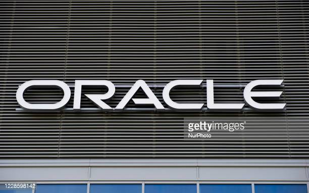 Oracle sign is seen on September 19, 2020 in Warsaw, Poland.