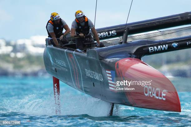 Oracle Team USA competes with Emirates Team New Zealand during day 1 of the America's Cup Match Presented by Louis Vuitton on June 17 2017 on...