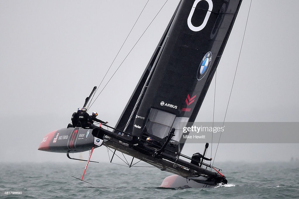 Oracle Team USA in action during a trial race on Day Two of the Louis Vuitton America's Cup World Series on July 24, 2015 in Portsmouth, England.