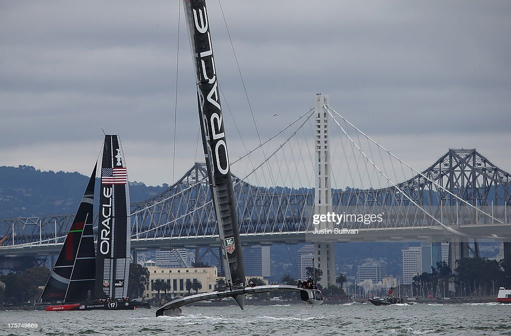 Oracle Team USA practices before the start of race two of the Louis Vuitton Cup semi final on August 7, 2013 in San Francisco, California. The winner of the Louis Vuitton Cup goes on to race against Oracle Team USA in the America's Cup Finals that start on September 7.