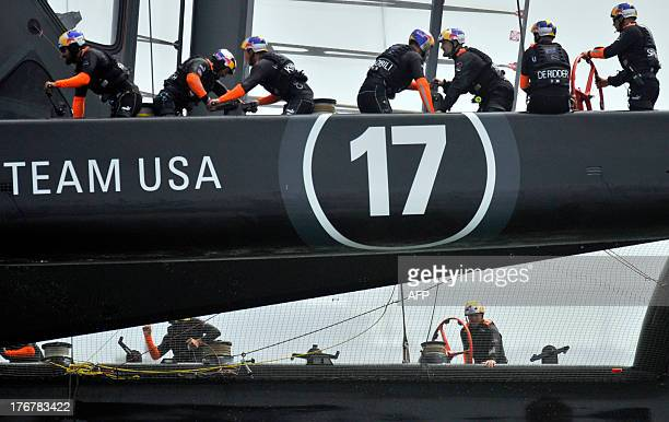 Oracle Team USA sails during a practice run in San Francisco California on August 18 2013 AFP PHOTO/Josh Edelson