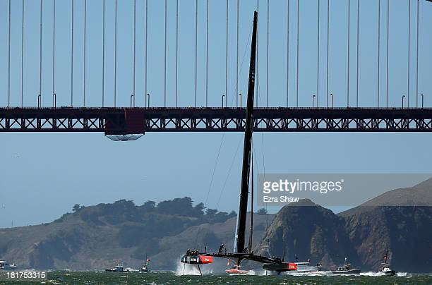 Oracle Team USA skippered by James Spithill in action against Emirates Team New Zealand in race 17 of the America's Cup Finals on September 24 2013...