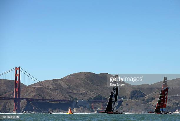 Oracle Team USA skippered by James Spithill races against Emirates Team New Zealand skippered by Dean Barker during race 16 of the America's Cup...