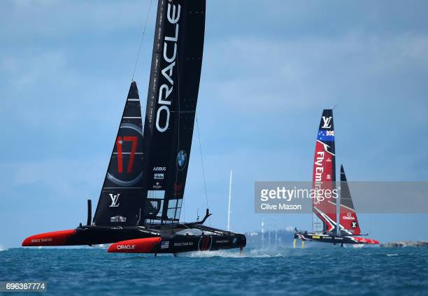 Oracle Team USA skippered by Jimmy Spithill and Emirates Team New Zealand skippered by Peter Burling in action during a training session ahead of the...