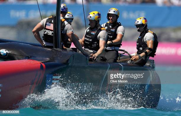 Oracle Team USA skippered by Jimmy Spithill cross the line in second place and cocede another race on day 4 of the America's Cup Match Presented by...