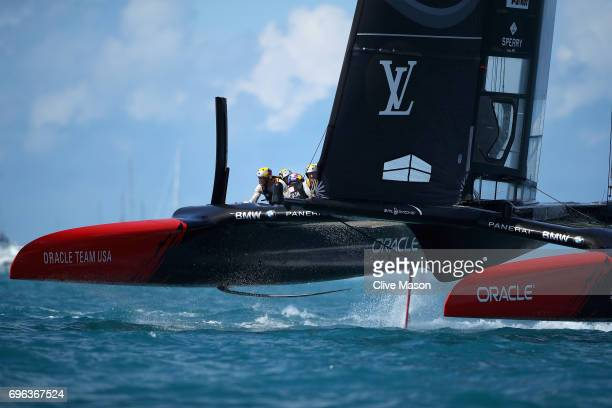 Oracle Team USA skippered by Jimmy Spithill in action during a training session ahead of the Americas Cup Match Presented by Louis Vuitton on June 15...