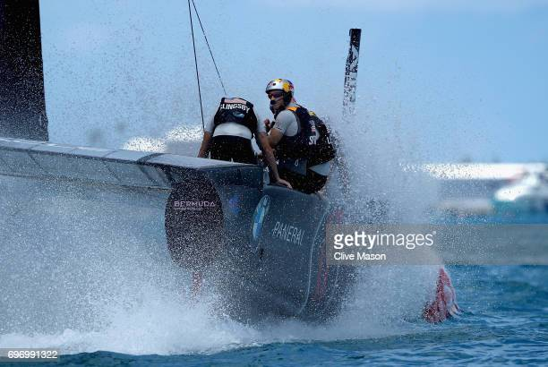 Oracle Team USA skippered by Jimmy Spithill in action during day 1 of the America's Cup Match Presented by Louis Vuitton on June 17 2017 in Hamilton...