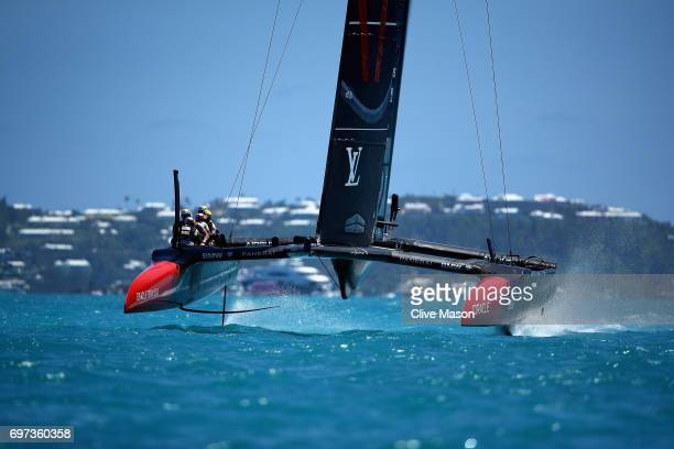 Oracle Team USA skippered by Jimmy Spithill in action during day 2 of the Americas Cup Match Presented by Louis Vuitton on June 18 2017 in Hamilton...