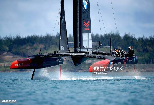 Oracle Team USA skippered by Jimmy Spithill in action training during a training session ahead of the Americas Cup Match Presented by Louis Vuitton...