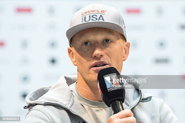 Oracle Team USA's skipper Jimmy Spithill participates in the press conference The skippers of the six boats contending for the next Louis Vuitton...