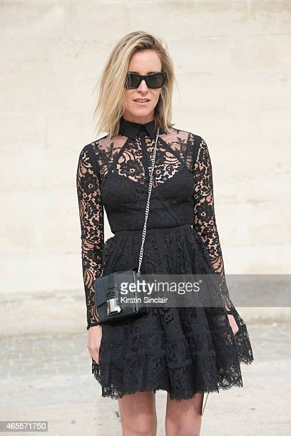 Oraclefoxcom writer Amanda Shadforth wears an Elie Saab dress Christopher Kane bag and Celine sunglasses on day 5 of Paris Collections Women on March...