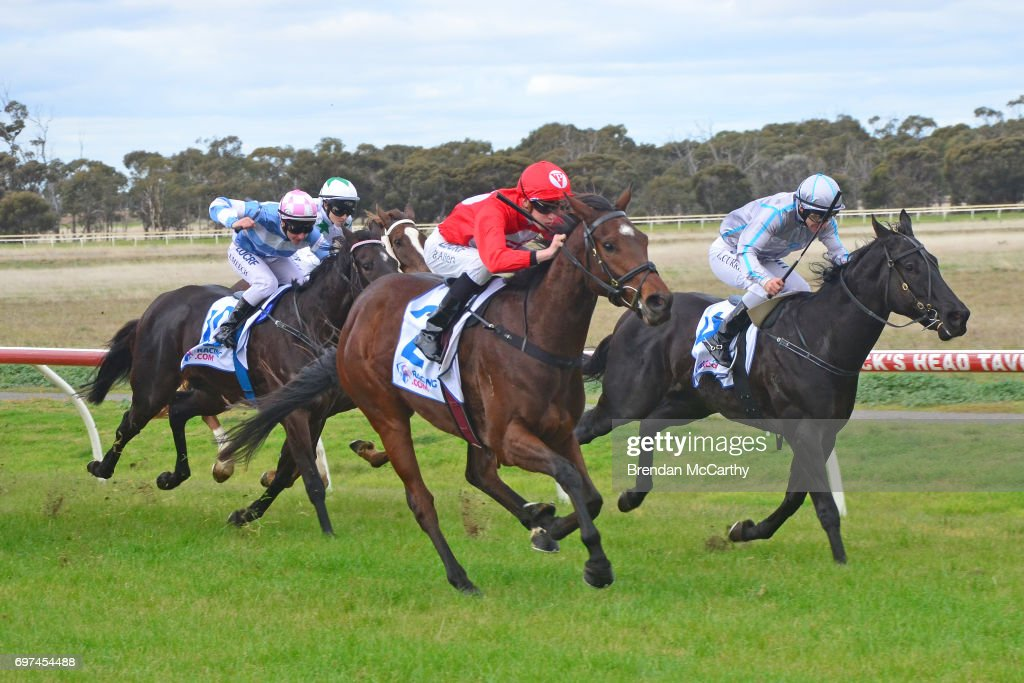 Orakei Overlord (NZ) ridden by Ben Allen wins the Weirâs IGA Donald Maiden Plate at Donald Racecourse on June 19, 2017 in Donald, Australia.