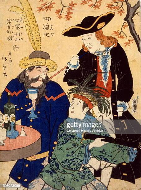 Oranda Amerika Igirisu by Hiroshige Utagawa 18261869 Published 1860 Japanese print shows three men gathered around a table A Dutch man wearing a...