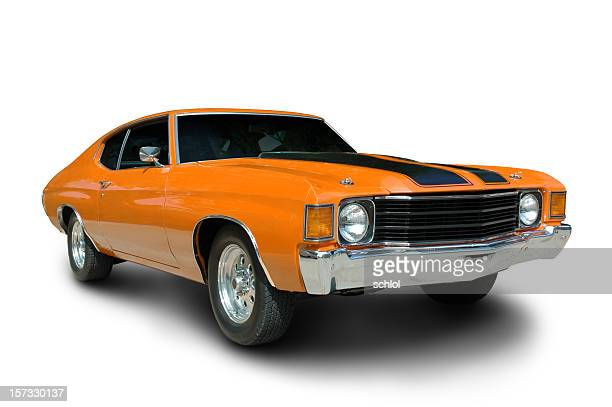 orange 1971 chevelle - 1970s muscle cars stock pictures, royalty-free photos & images
