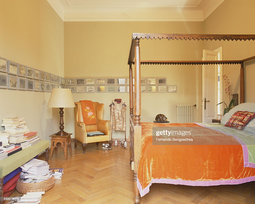 Orange Accents In Bedroom Stock Photo - Getty Images