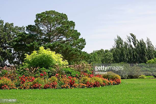 Orange and Red Formal Flower Garden