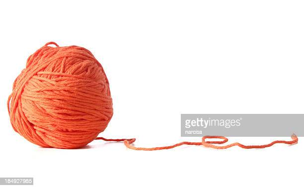 orange ball of yarn - wool stock pictures, royalty-free photos & images