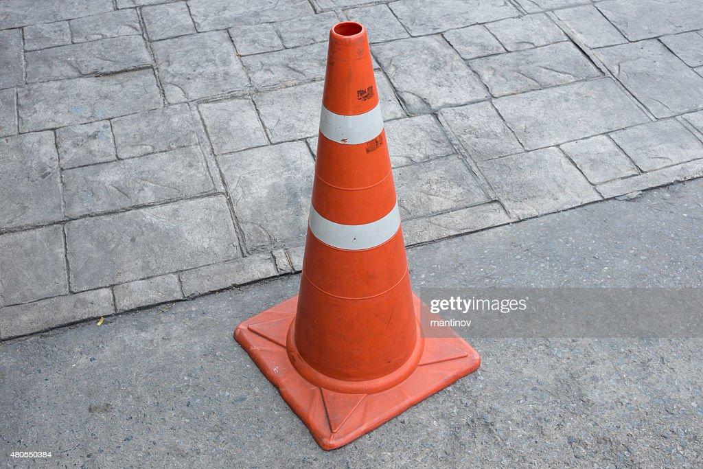 Orange base PVC traffic cone : Stock Photo