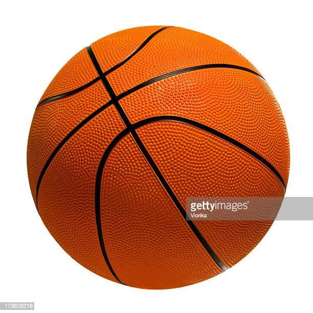 Orange basketball on white background