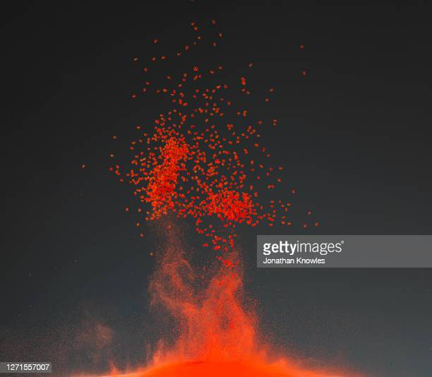 orange bead explosion - active volcano stock pictures, royalty-free photos & images