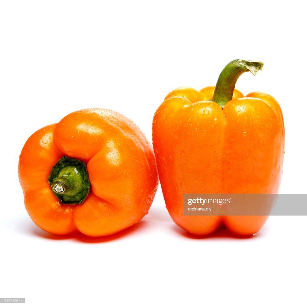 orange bell pepper isolated : Foto de stock