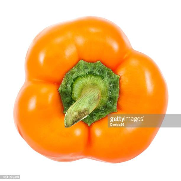 Orange Bell Pepper on white