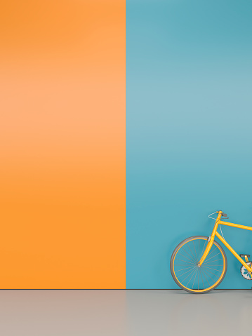 orange bike at colourful wall - gettyimageskorea