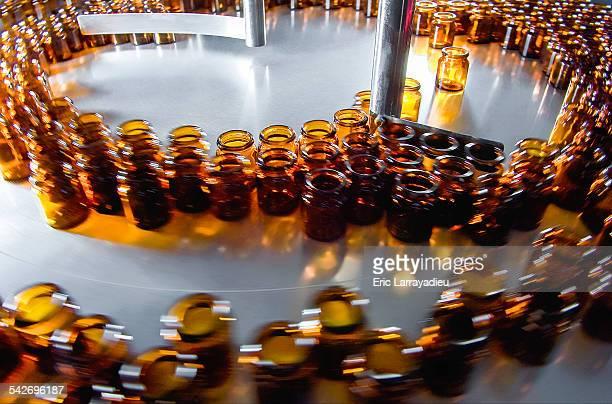 Orange bottles at drug manufacturing plant