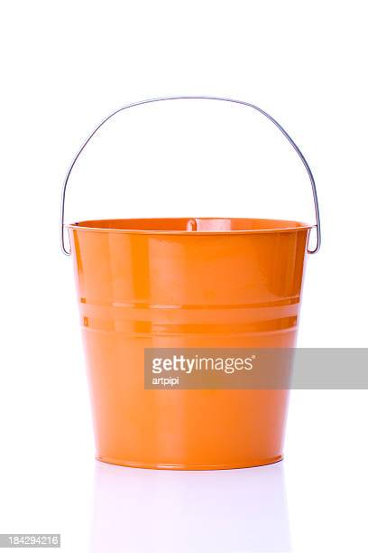 orange bucket - bucket stock pictures, royalty-free photos & images