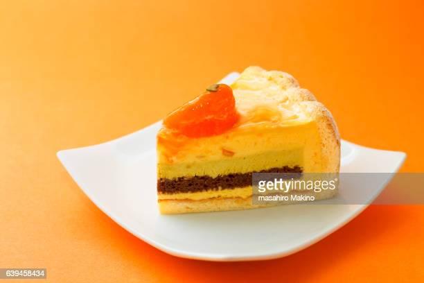 Orange Cake with Pistachio Mousse Filling