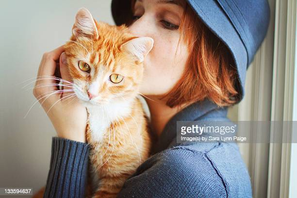 Orange cat & girl