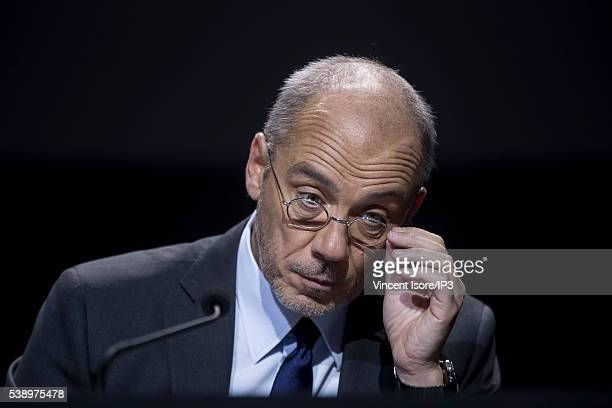 Orange CEO Stephane Richard attends the general shareholders meeting of French telecom operator Orange organized at Palais des Congres on June 7 2016...