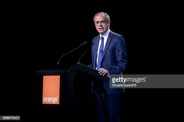 Orange CFO Ramon Fernandez speaks during the general shareholders meeting of French telecom operator Orange organized at Palais des Congres on June 7...