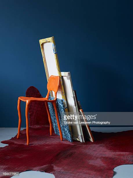 orange chair - animal skin rug stock photos and pictures