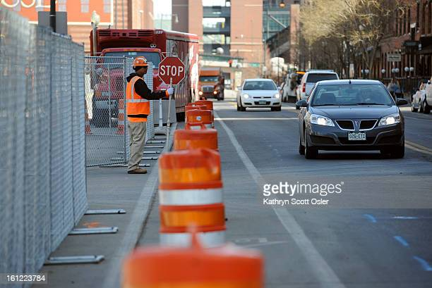 Orange construction barrels replace the parking meters in front of Union Station Construction on the historic Union Station has eliminated 390...