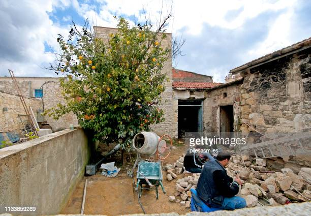 orange construction, omodos village, cyprus - fruit laden trees stock pictures, royalty-free photos & images