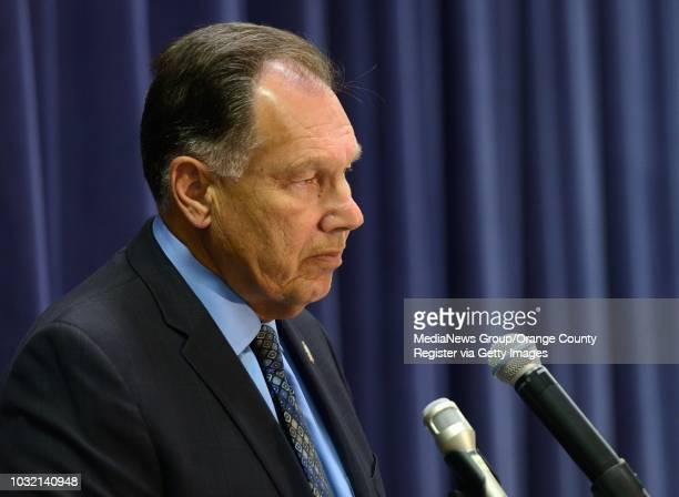 Orange County District Attorney Tony Rackauckas addresses the media Tuesday as he accuses Supervisor Todd Spitzer of impersonating an OCDA assistant...